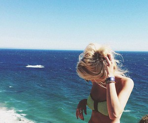blonde, girl, and ocean image