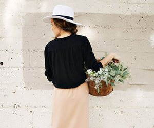 hat, flowers, and style image