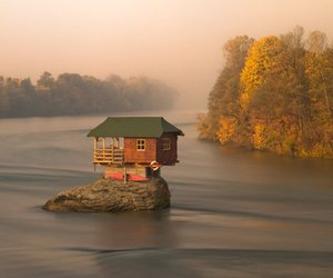 house, Serbia, and river image