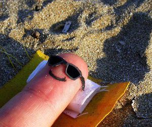 fingers, beach, and sun image