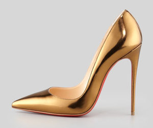 heels, gold, and shoes image