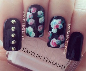 nails, flowers, and nail polish image