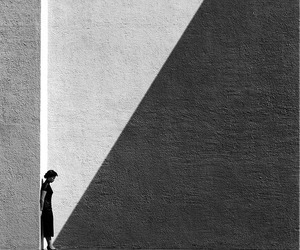 black and white, photography, and shadow image