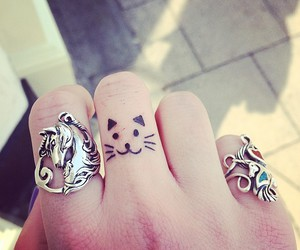 tattoo, cat, and rings image
