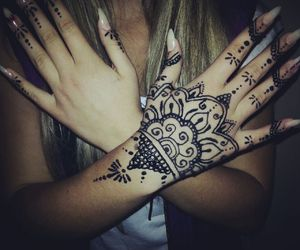 blond, girl, and henna image