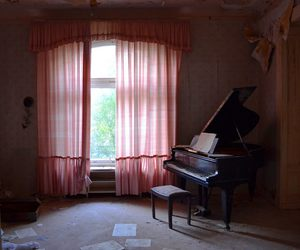 interior, piano, and pink image