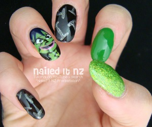 face, green, and halloween nails image