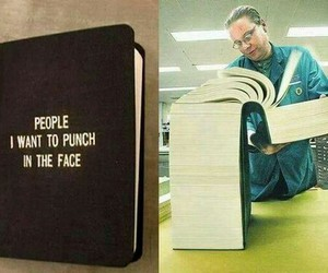 book, funny, and people image
