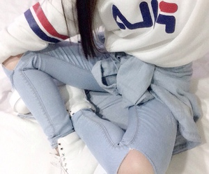 fashion, ripped jeans, and sweater image