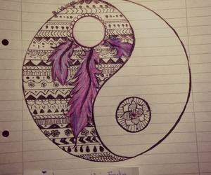 art, drawings, and ying and yang image