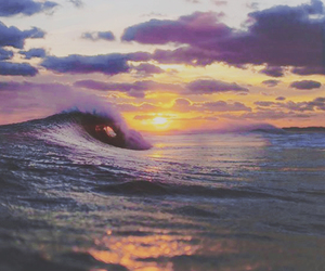 sunset, sea, and waves image