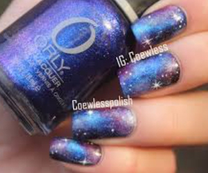 galaxy, blue, and nail polish image