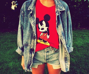fashion, jeans, and mickey mouse image