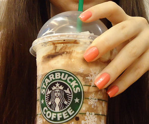 nails, starbucks, and girl image