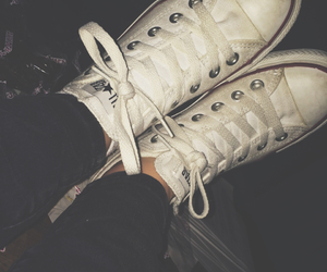 white converse, black jeans, and converse image