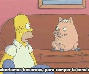 homer, kiss, and pig image
