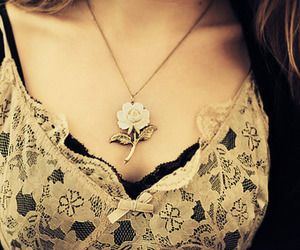 flowers, necklace, and lace image