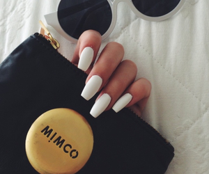 nails, white, and sunglasses image