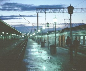 train, night, and station image