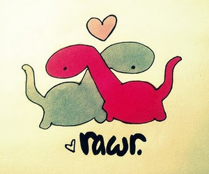 love, rawr, and dinosaur image