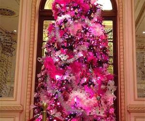 pink, christmas, and christmas tree image