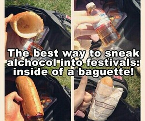 alcohol, baguette, and life hacks image