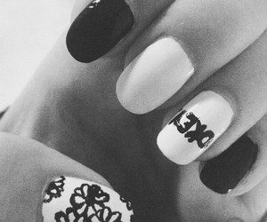 bw, flowery, and nails image