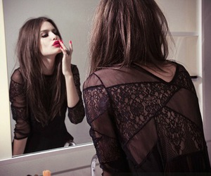 girl, mirror, and red image