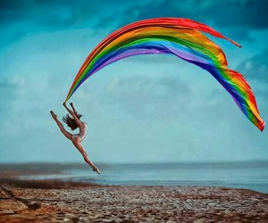 dance, rainbow, and colors image