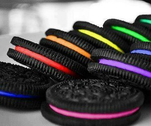 oreo, food, and rainbow image