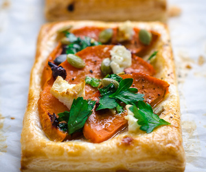 galette, puff pastry, and goat cheese image