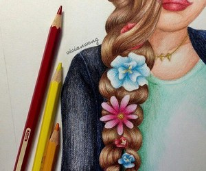 drawing, flowers, and art image