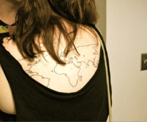back, tattoo, and brunette image