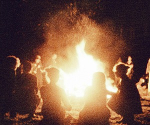 fire, friends, and night image