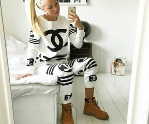chanel, blonde, and timberland image