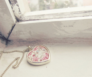 heart, necklace, and flowers image