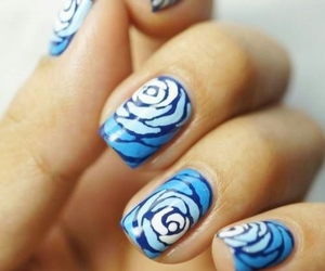 blue, nails, and roses image
