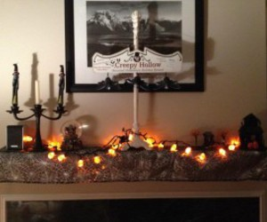 halloween decorations and fall mantel decorations image