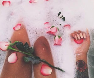 bath, rose, and Tattoos image
