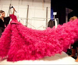 catwalk, fashion show, and pink image
