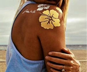 body, flash tattoo, and flower image
