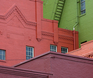 buildings, green, and pink image
