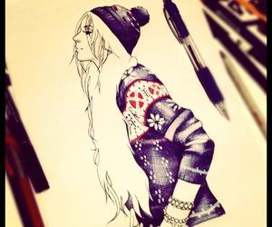 biro, hair, and drawing image