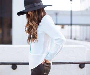black and white, girly, and hat image