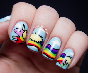 color, nails, and rainbow image