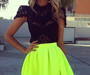fashion, neon, and skirt image
