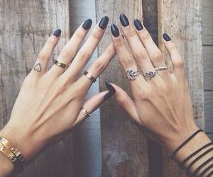 nails, black, and rings image
