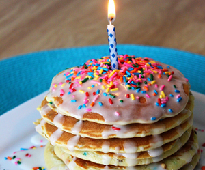 birthday, pancakes, and candle image