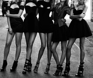 beautiful, black and white, and black dress image