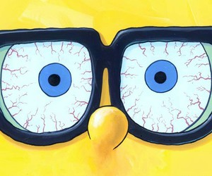spongebob, yellow, and glasses image